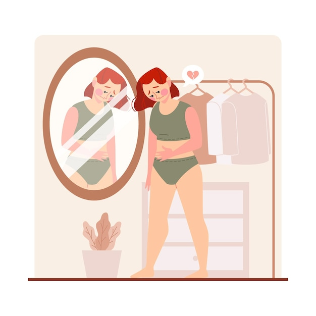 Mujer de baja autoestima mirando en el espejo vector gratuito