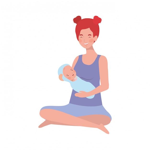 Mujer con un bebé recién nacido en sus brazos Vector Premium