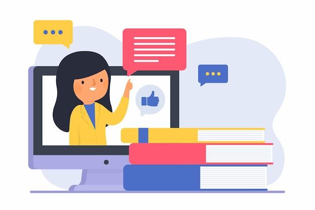 Mujer con cabello largo enseñando en línea vector gratuito