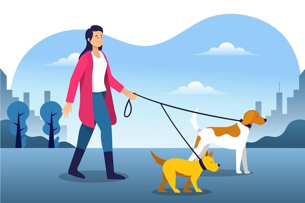 Mujer caminando en el parque con sus perros vector gratuito