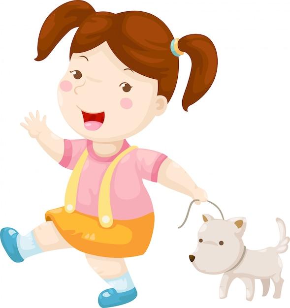 Mujer caminando perro vector Vector Premium