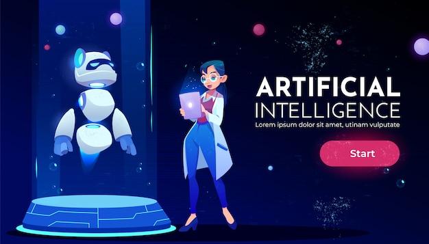 Mujer científica en panda robot neón banner vector gratuito
