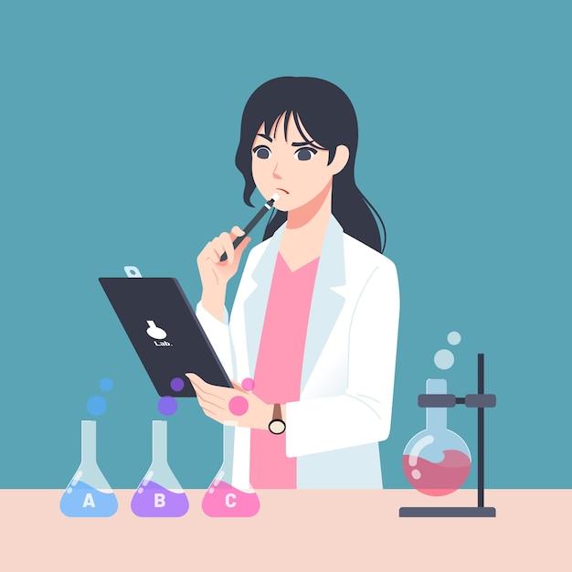 Mujer científico vector gratuito