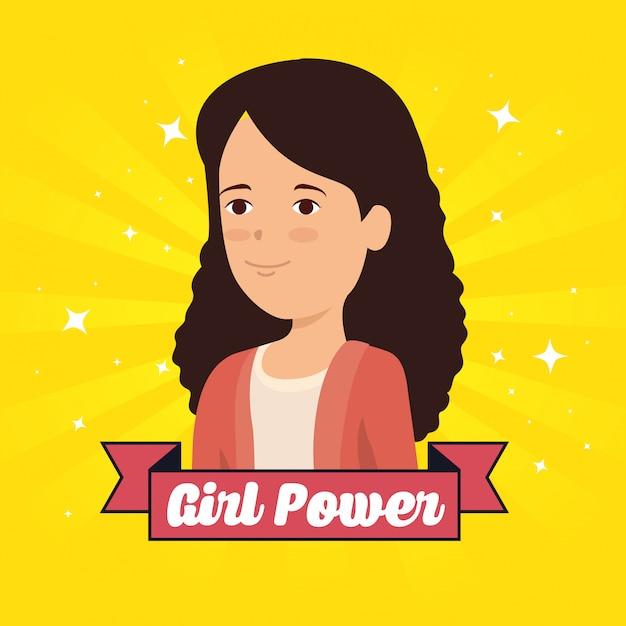Mujer y cinta con mensaje de poder de niña vector gratuito