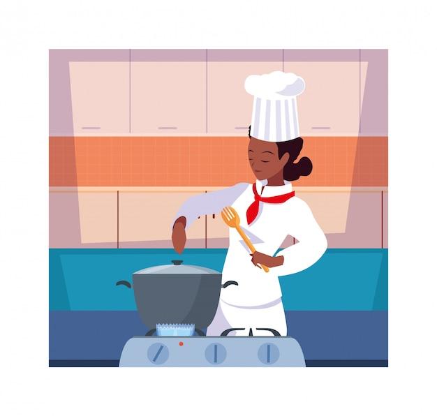 Mujer cocinando, chef en uniforme blanco Vector Premium
