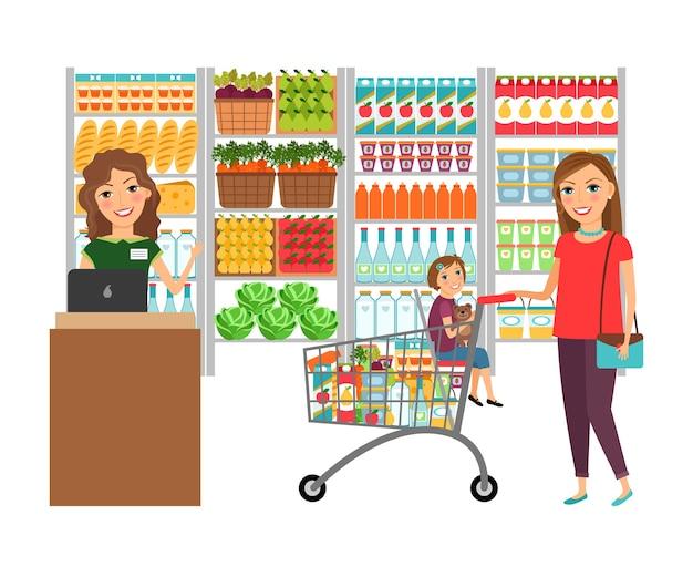 Mujer de compras en la tienda de comestibles. mercado de clientes, supermercado de venta, cajero y minorista, ilustración vectorial vector gratuito