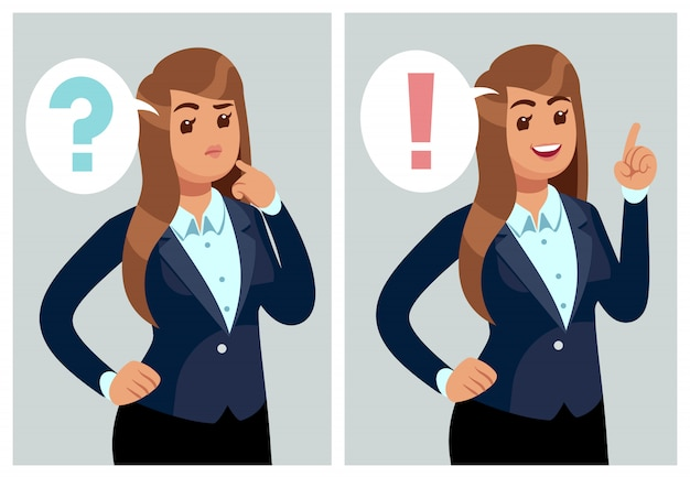 Mujer confundida joven pensando, estudiante con problema y encontrar solución. Vector Premium