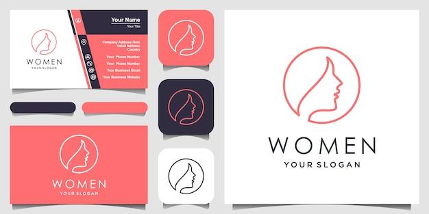 Mujer creativa con estilo de arte lineal. diseño de logotipo y tarjeta de visita, cabeza, logotipo de cara aislado. uso para salón de belleza, spa, diseño de cosméticos, etc. Vector Premium