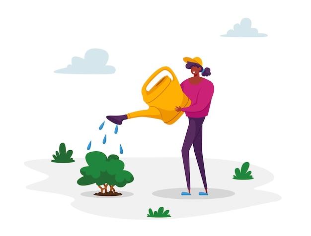 Mujer cuidado voluntario del riego de plantas verdes de lata Vector Premium