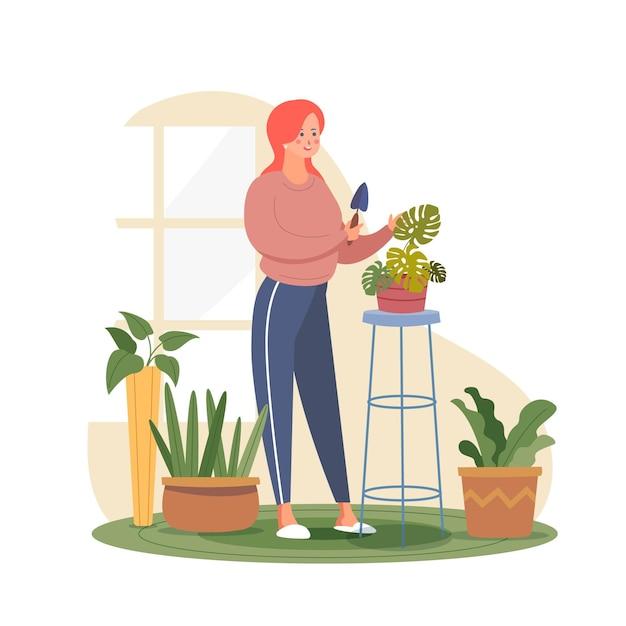 Mujer cuidando su planta monstera vector gratuito