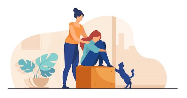 Mujer dando consuelo y apoyo a amigo vector gratuito