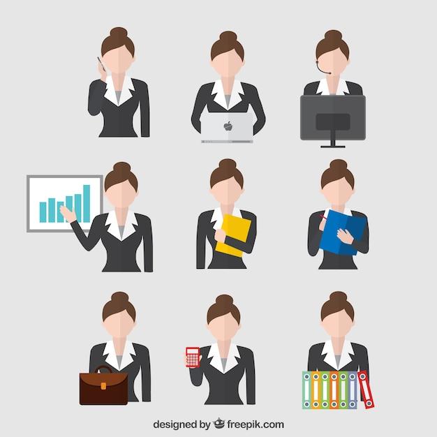 Mujer de negocios en diferentes situaciones Vector Gratis