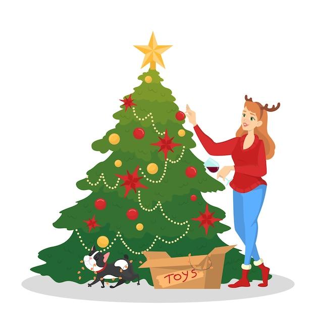 Mujer decorando el árbol de navidad para la celebración. decoración tradicional de vacaciones para fiesta. feliz linda chica en suéter rojo. ilustración Vector Premium