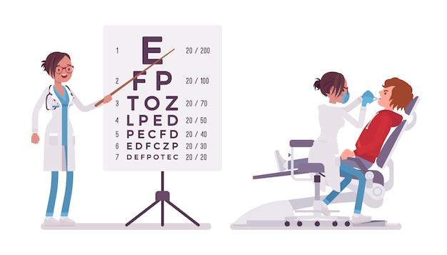 Mujer dentista y oftalmólogo. mujer en uniforme del hospital en la tabla de prueba de ojo, tratamiento de dientes. concepto de medicina y salud. ilustración de dibujos animados de estilo sobre fondo blanco Vector Premium