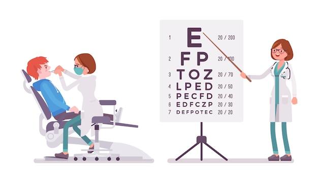 Mujer dentista y oftalmólogo Vector Premium