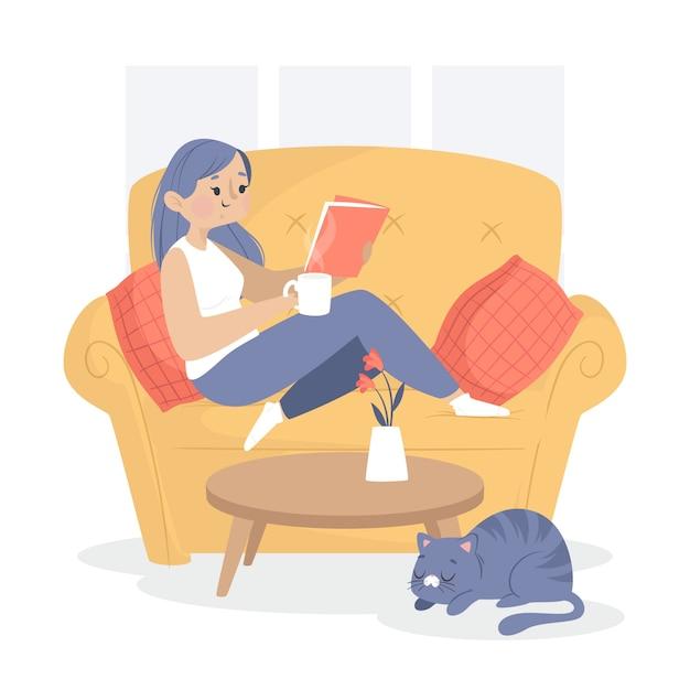 Mujer descansando en el sofá en casa vector gratuito