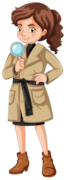 Mujer detective con lupa vector gratuito