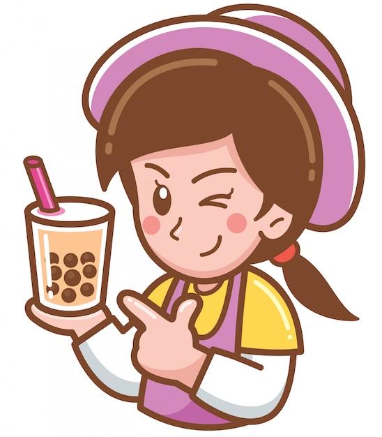 Mujer de dibujos animados presentando té de burbujas Vector Premium