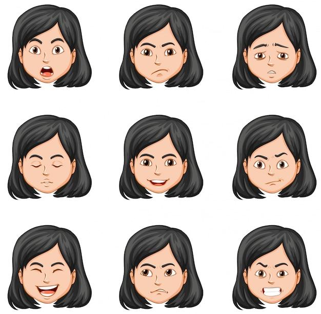 Mujer y diferentes expresiones faciales. vector gratuito
