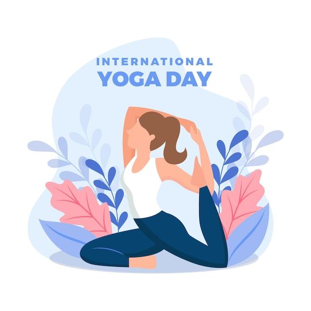 Mujer de diseño plano haciendo yoga Vector Premium