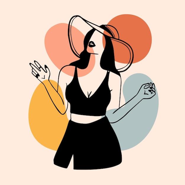 Mujer en elegante estilo de arte lineal Vector Premium