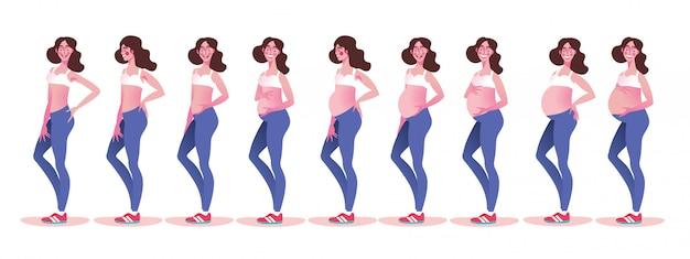 Mujer embarazada con barriga en crecimiento por meses Vector Premium