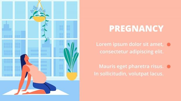 Mujer embarazada en camisa rosa se sienta en el piso. yoga. Vector Premium