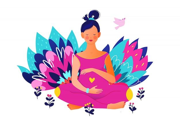 Mujer embarazada haciendo yoga. activo bien equipado personaje femenino embarazada. feliz embarazo yoga y deporte para embarazadas. caricatura plana Vector Premium