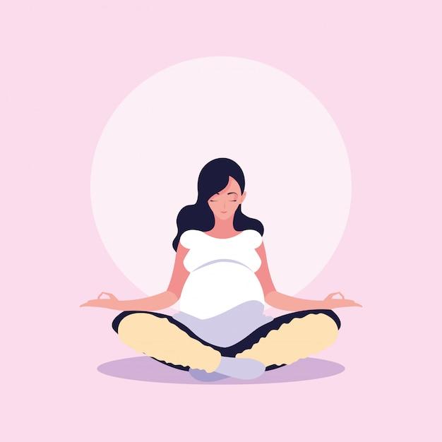 Mujer embarazada posición de loto avatar personaje Vector Premium