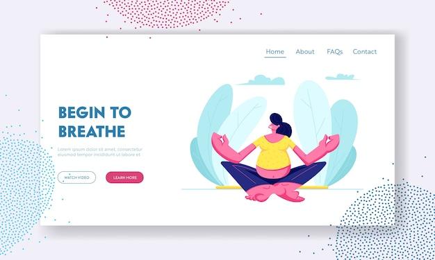 Mujer embarazada sentada en postura de loto haciendo yoga meditación. Vector Premium