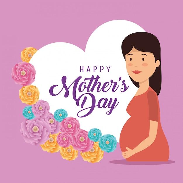 Mujer embarazada con tarjeta para el día de la madre vector gratuito