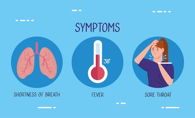 Mujer enferma con termómetro y pulmones vector gratuito