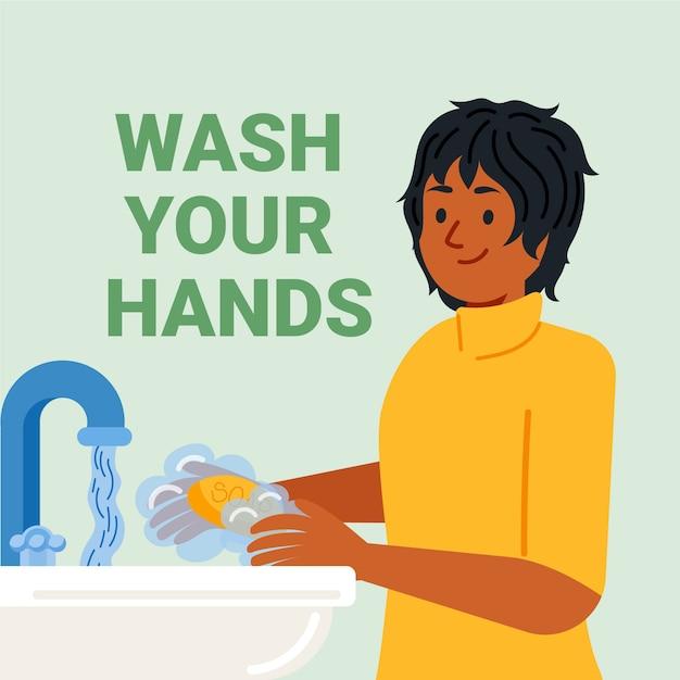 Mujer feliz que se lava las manos en el interior vector gratuito