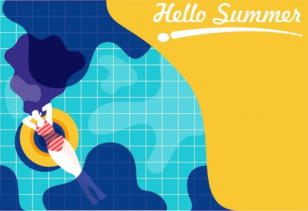 Mujer flotando en la piscina Vector Premium