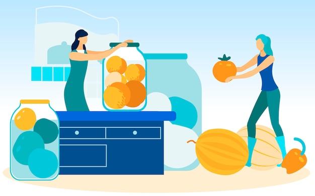 Mujer gira tarro sobre mesa mujer con tomate en mano Vector Premium
