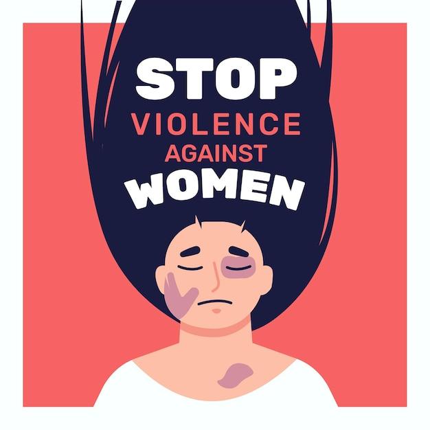 Mujer golpeada ilustrada con texto de detener la violencia contra las mujeres vector gratuito