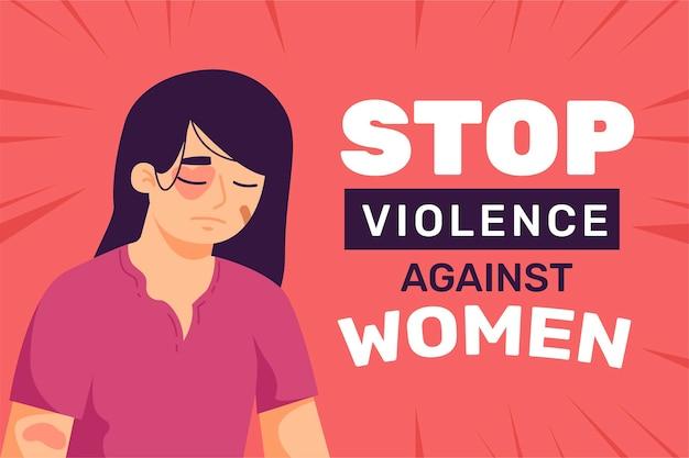 Mujer golpeada con texto de detener la violencia contra las mujeres Vector Premium