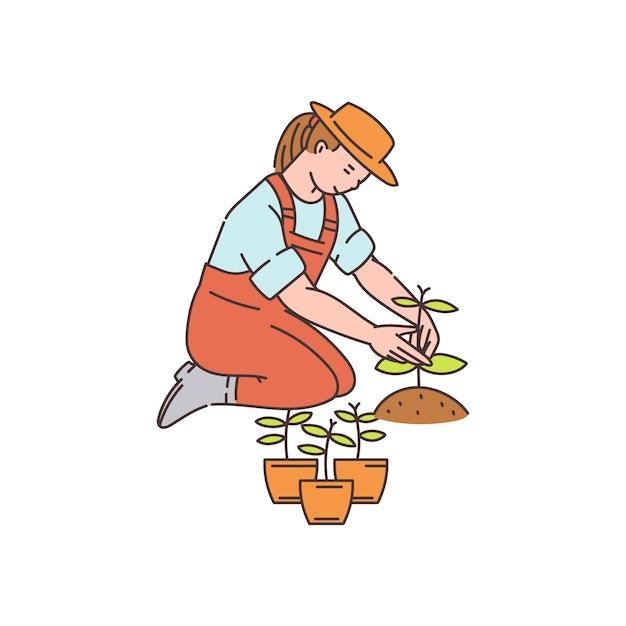 Mujer del granjero plantando plantas de macetas a tierra - personaje de dibujos animados, ilustración en estilo boceto sobre fondo blanco. jardinería y agricultura. Vector Premium