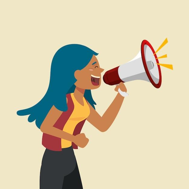 Mujer gritando con un megáfono vector gratuito