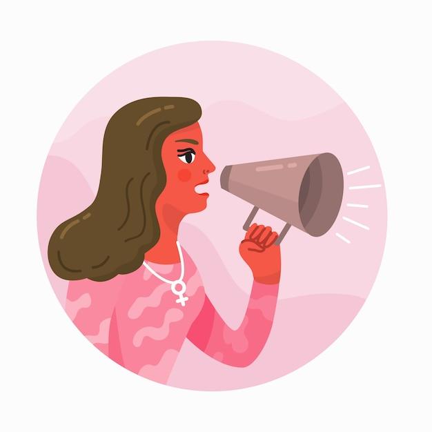 Mujer gritando con un megáfono Vector Premium