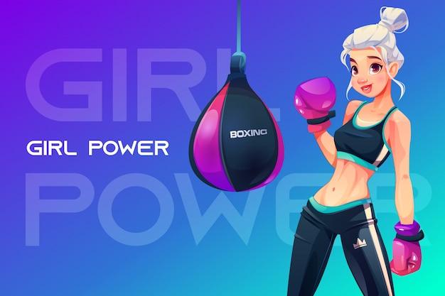 Mujer en guantes de boxeo posando en saco de boxeo vector gratuito