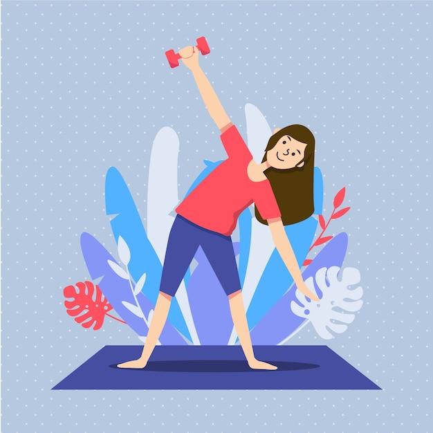 Mujer haciendo ejercicio en la sala de estar ilustrada Vector Premium
