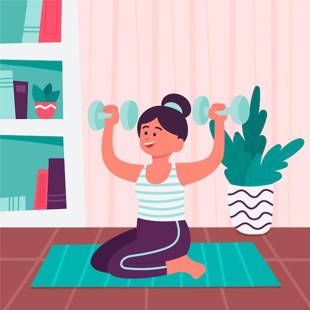 Mujer haciendo ejercicios con pesas vector gratuito