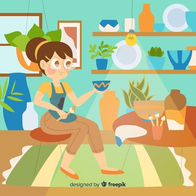 Mujer haciendo y pintando cerámica vector gratuito