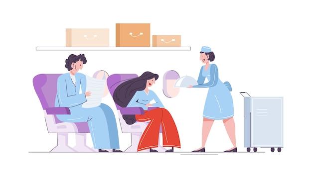 Mujer y hombre en el avión, azafata sirviendo comida para el pasajero. idea de ocupación profesional y turística. ilustración Vector Premium