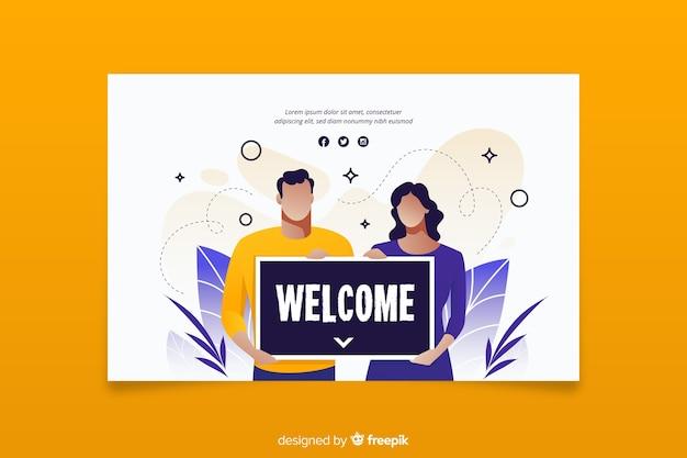Mujer y hombre con un cartel de bienvenida vector gratuito