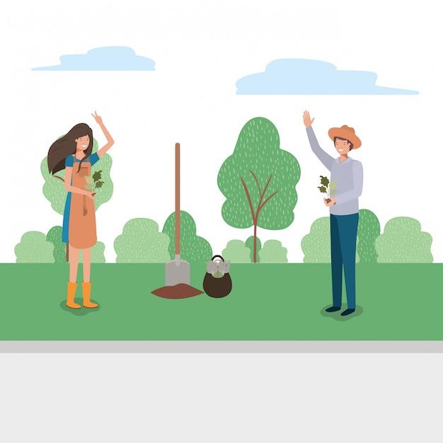 Mujer hombre y concepto de jardinería Vector Premium