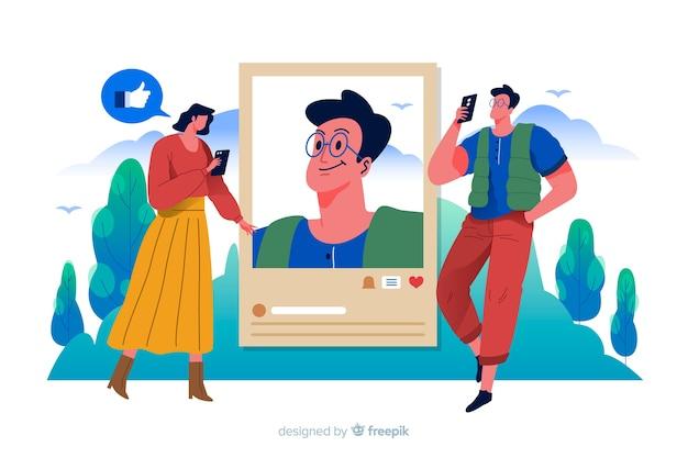 Mujer y hombre tomando fotos y publicándolas en internet vector gratuito