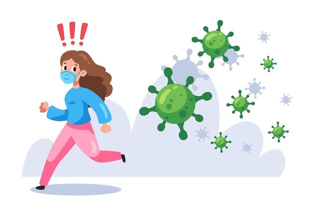 Mujer huyendo de partículas de coronavirus vector gratuito