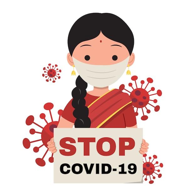 Mujer india con un cartel con texto stop covid-19 | Vector Premium
